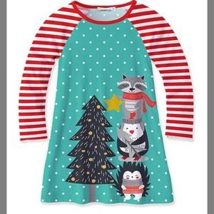 Turquoise & Red Christmas Animal Dress & Socks